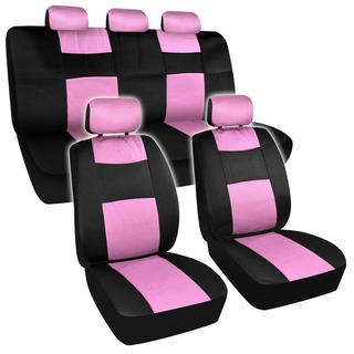 BDK Universal Fit 11-piece Premium Fresh Mesh Car Seat Covers - Black/ Pink