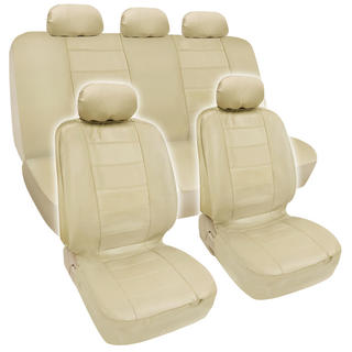 BDK Premium Beige PU Leather Car Seat Cover Set