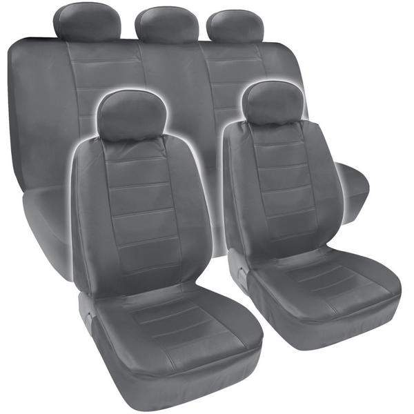 BDK Premium Grey PU Leather Front and Rear Car Seat Cover Set