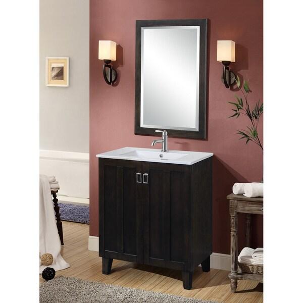 dark brown 30 inch single sink bathroom vanity with matching framed