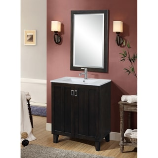 Dark Brown 30-inch Single Sink Bathroom Vanity with Matching Framed Wall Mirror