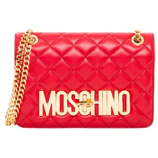 Moschino Red Quilted Leather Shoulder Bag