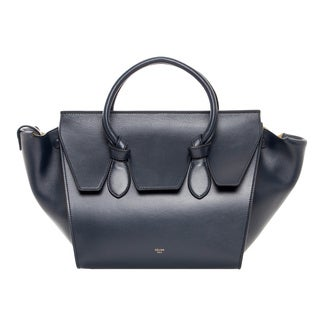 Celine Navy Mini Leather Tie Bag