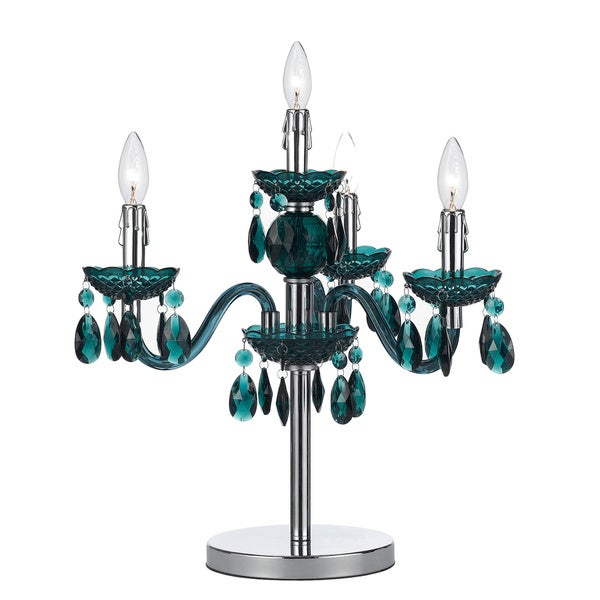 angelo:HOME Green Faux Crystal Candelabra Table Lamp