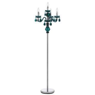 Angelo Home 4-light Dark Green Faux Crystal Candelabra Floor Lamp