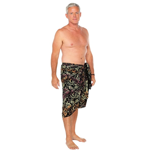 1 World Sarongs Men's Black Abstract Leaf Sarong