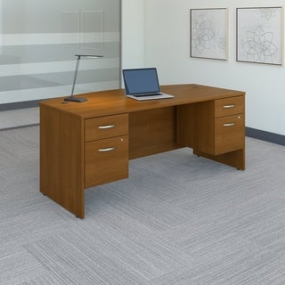 BBF Series C Collection 72 x 36 Bow Front Desk with Two 3/4 Pedestals