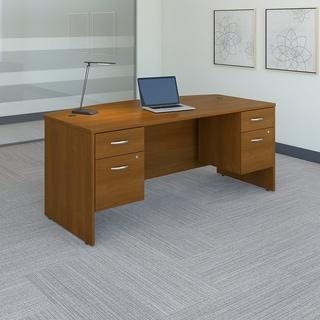 BBF SRC063AUSU Laminate Bow Front Desk with Pedestals