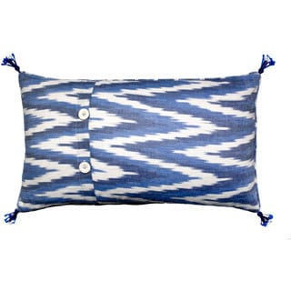 Mela Artisans Blue and white Cotton Small Pillow (India)