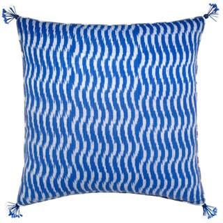 Mela Artisans Blue and white Cotton Large Pillow (India)