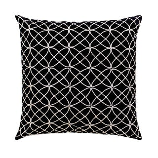 Mela Artisans Black and Silver Silk Large Pillow (India)