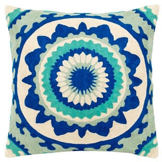 Mela Artisans Blue Embroidered Large Pillow (India)