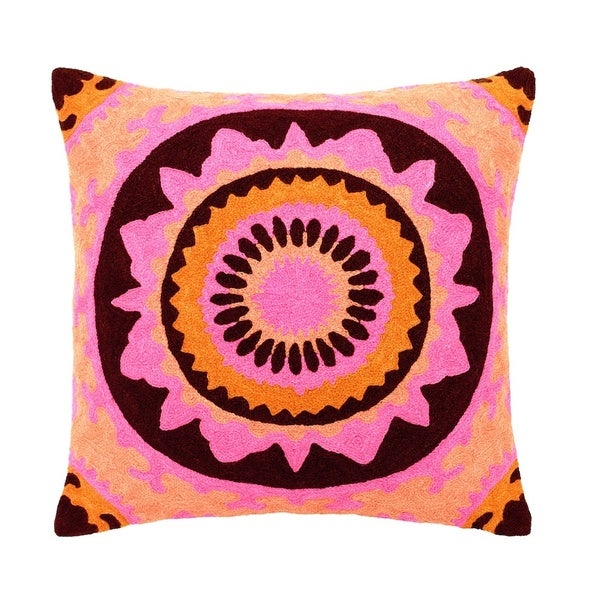 Mela Artisans Pink/ Orange/ Brown Large Embroidered Cotton Pillow (India)