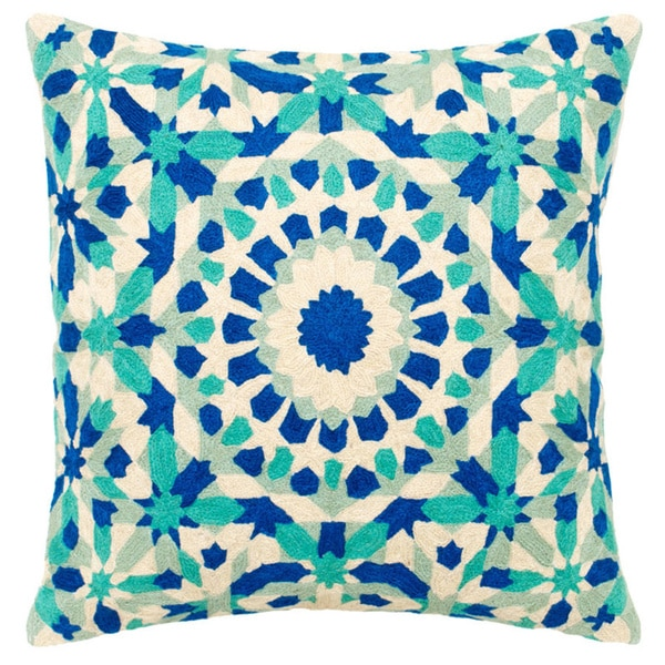 Mela Artisans Blue/ Green/ White Embroidered Cotton Large Pillow (India)