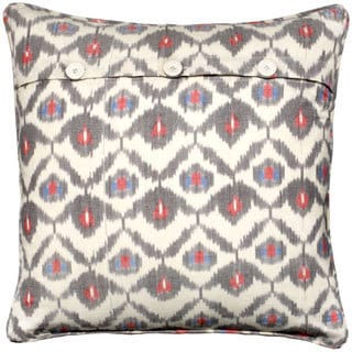 Mela Artisans Grey/ Red/ White Cotton Large Pillow (India)