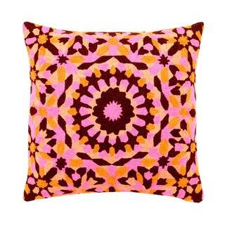 Mela Artisans Pink/ Orange/ Brown Embroidered Cotton Large Pillow (India)