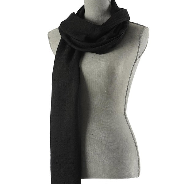 Mela Artisans Hand-woven Stormcloud Cashmere Scarf (India)