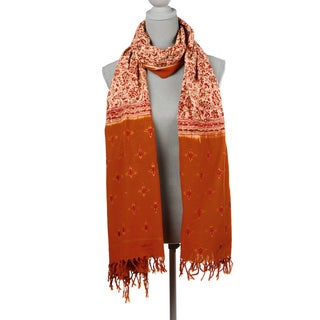Mela Artisans Cosmic Fire Oversized Cotton Scarf (India)