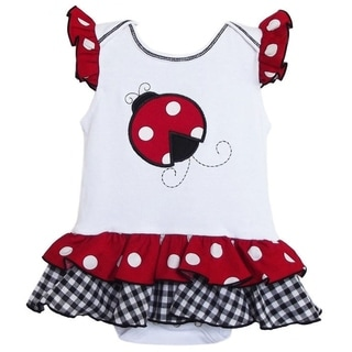 AnnLoren Boutique Baby Girls Polka-dot Ladybug Cotton Bodysuit
