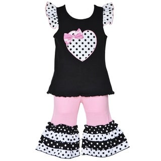 AnnLoren Boutique Girls Polka-dot Heart Tunic with Capris (2-piece Outfit)