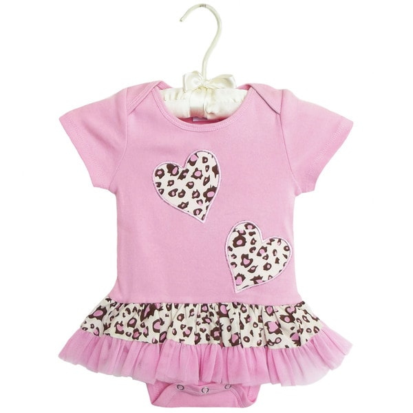 AnnLoren Boutique Baby Girls Leopard Heart with Tulle Bodysuit