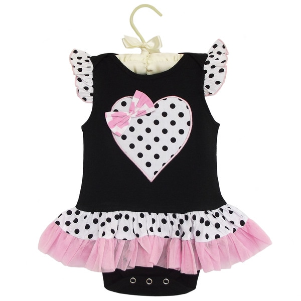 AnnLoren Boutique Baby Girls Polka-dot Heart Knit Bodysuit
