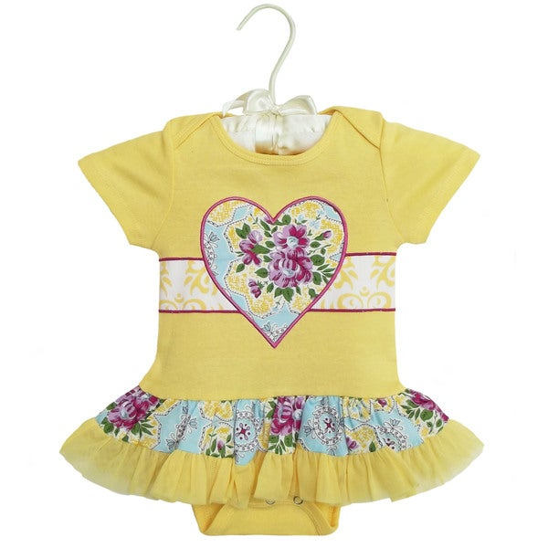AnnLoren Boutique Baby Girls Yellow Floral Heart Cotton Bodysuit