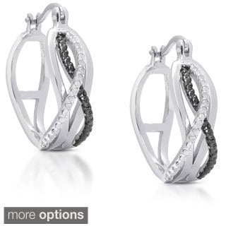 Finesque Gold over Sterling Silver 1/5ct TDW Diamond Infinity Design Hoop Earrings (I-J, I2-I3)