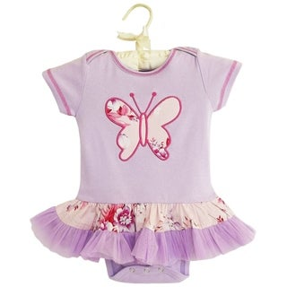 AnnLoren Boutique Baby Girls Floral Butterfly and Tulle Bodysuit