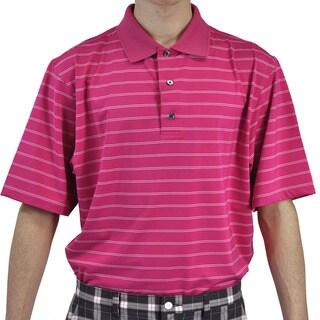 FootJoy Men's Stretch Lisle Short Sleeve Hot Pink Stripe Golf Polo