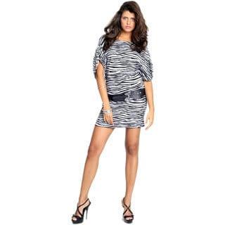 Women's Black/ White Animal Print Dress