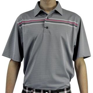 FootJoy Men's Tahoe Grey/ Hot Pink Chest Stripe Golf Polo Shirt
