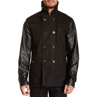Seduka Men's Black Faux Leather Sleeves Double Breasted Coat