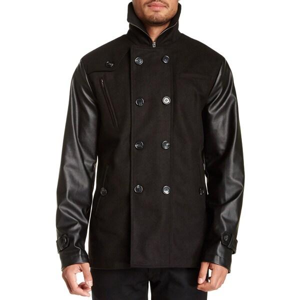Seduka Men's Black Faux Leather Sleeves Double Breasted Coat