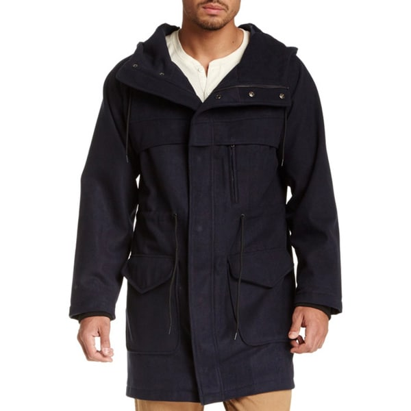 Seduka Men's Navy Hooded Parka Jacket