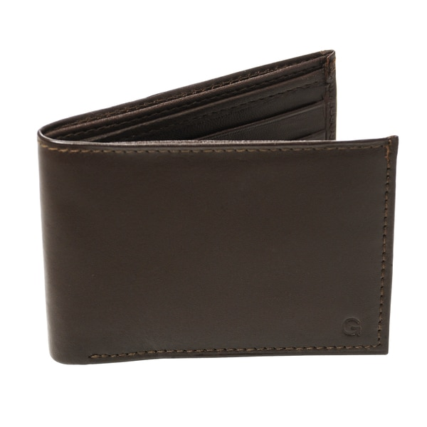 Monogrammed Windsor Brown Genuine Leather Bi-fold Wallet