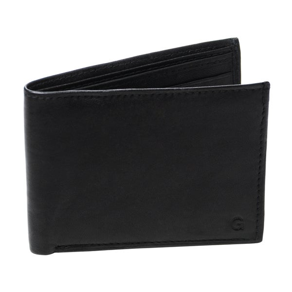 Monogrammed Windsor Black Genuine Leather Bi-fold Wallet
