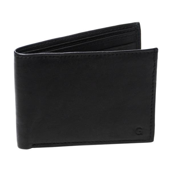 Monogrammed Windsor Black Genuine Leather Bi-fold Wallet