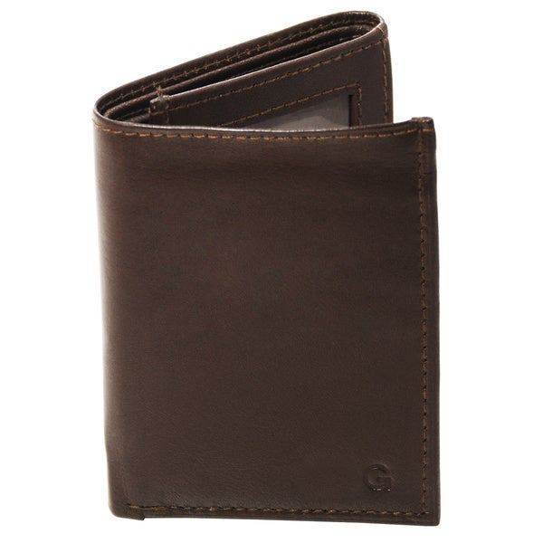 Monogrammed Brown Oxford Leather Tri-fold Wallet