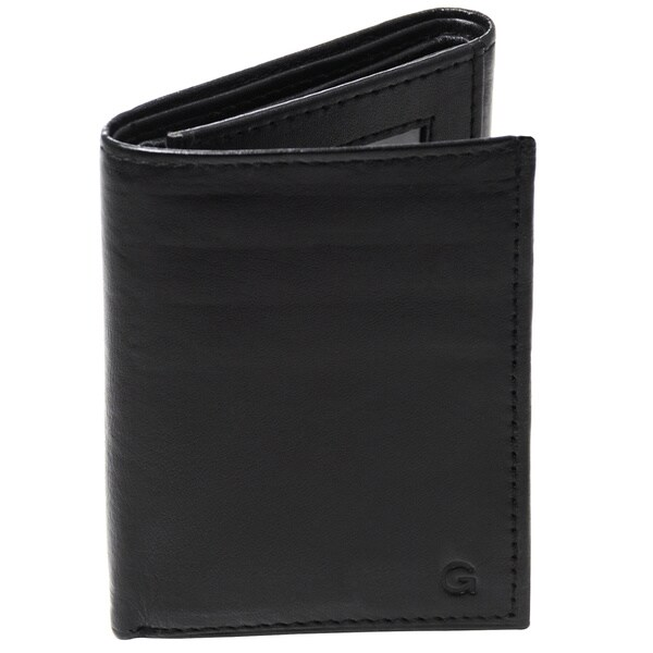 Monogrammed Black Oxford Genuine Leather Tri-fold Wallet