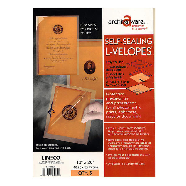 Lineco Self-Sealing L-Velopes
