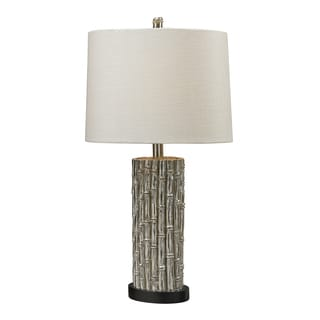 Silver Bamboo 1-light Oval Table Lamp
