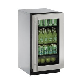 U-Line 2000 Series 2218 - 18 Inch Stainless Steel Framed Glass Door Refrigerator