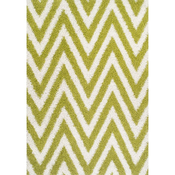 Odyssey Zig-zag Line Lime Shag Rug (8'2 x 10')