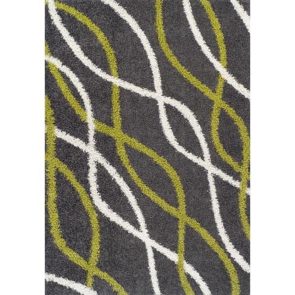 Odyssey Wavy Lines Multi Color Shag Rug (8'2 x 10')