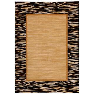 Loft New City Zebra Border Tan/ Black Polypropylene Rug (5'3 x 7'4)