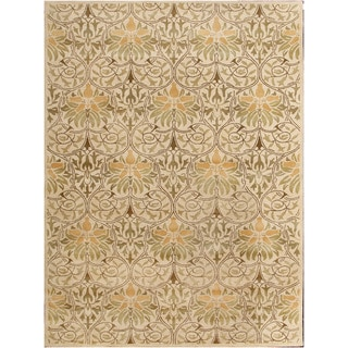 Embellishing Transitional Gold Wool Floral Area Rug (9' x 12')