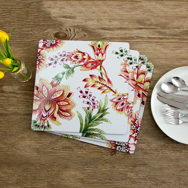 Mina Floral Motif Square Cork Placemats (Set of 4)