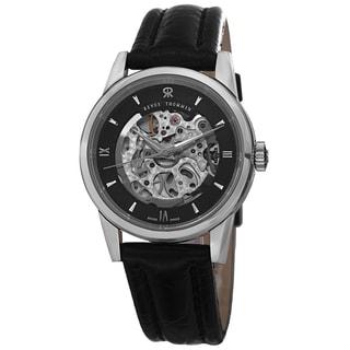 Revue Thommen Women's 12010.2537 'Specialities' Black Open Dial Black Leather Strap Watch