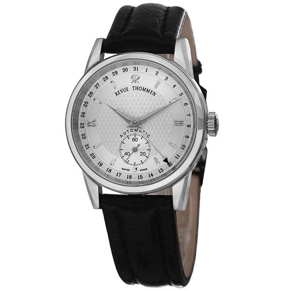 Revue Thommen Women's 12011.2532 'Specialities' Silver Dial Black Leather Strap Date Watch